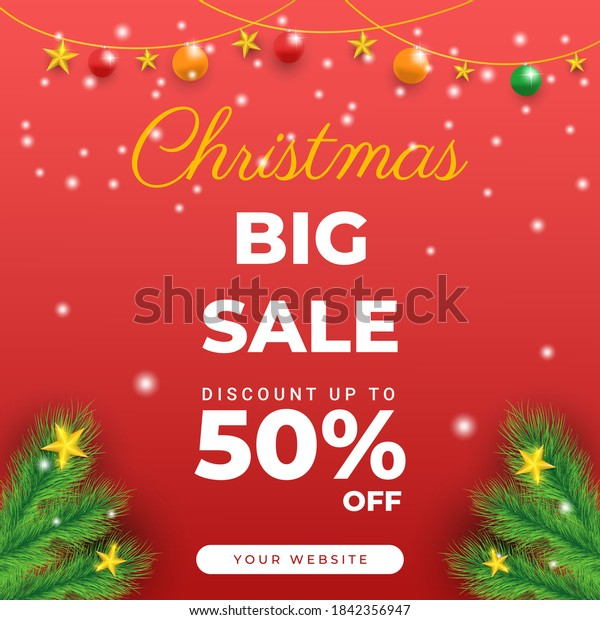 Editable square banner templates. Christmas sale post template design. Usable for social media post, story and web internet ads.
