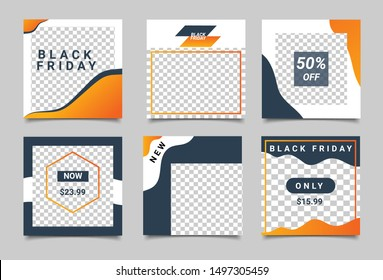 Editable square social media post template. Black Friday. Minimalist design. Vector illustration