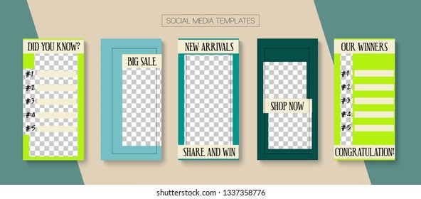 Editable Stories Abstract Vector Layout. Blogger Social Media Illustration Website Template. Noble Social Media Shop Now, New Goodies, Winners Photo Frames Kit. Cool Insta Stories Layout