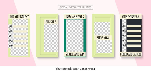 Editable Stories Abstract Vector Layout. Blogger Social Media Advertising SMM App Template. Noble Social Media Like and Share, New Arrivals, New Goodies Photo Frames Kit. Sale Insta Stories Layout