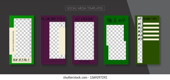 Editable Stories Abstract Vector Layout. Blogger Social Media Advertising Mobile Template. Brand Social Media New Goodies, Like and Share, Follow Us Photo Frames Kit. Nice Stories Layout