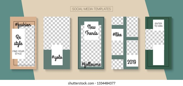 Editable Stories Hipster Vector Layout. Blogger Social Media Comments Phone Template. Brand Social Media New Arrivals, Trends, New Goodies Photo Frames Set. Sale Insta Stories Layout