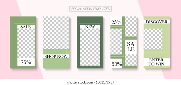 Editable Stories Modern Vector Layout. Bright Social Media Sale -50, Fashion, New Goodies Photo Frames Kit. Blogger Social Media Illustration SMM App Template. Cool Insta Stories Layout