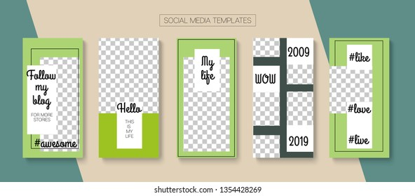Editable Stories Simple Vector Layout. Brand Social Media New Arrivals, Sale -50, New Goodies Photo Frames Pack. Blogger Social Media Background Phone Template. Cool Insta Stories Layout