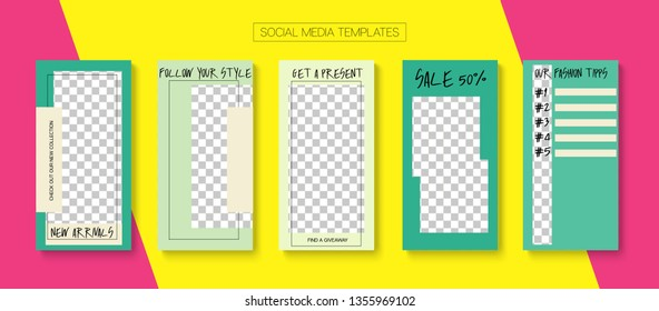 Editable Stories Simple Vector Layout. Brand Social Media New Goodies, Follow Us, Fashion Photo Frames Set. Blogger Social Media Illustration SMM App Template. Nice Insta Stories Layout