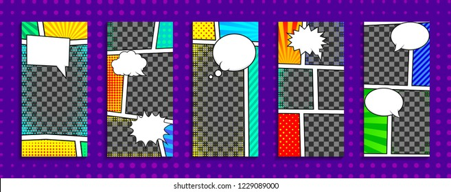Editable stories templates for smartphone. Stream cover. Comic book, pop art style. Isolated, vector.
