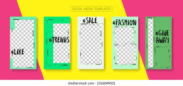 Editable Stories Trendy Vector Layout. Noble Social Media New Goodies, Follow Us, Fashion Photo Frames Kit. Blogger Social Media Geometric Mobile Template. Cool Insta Stories Layout