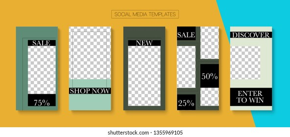 Editable Stories Trendy Vector Layout. Blogger Social Media Comments Website Template. Bright Social Media Winners, New Goodies, Like and Share Photo Frames Kit. Sale Insta Stories Layout