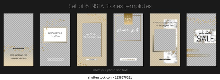 Editable Stories vector template pack. Social media frames with golden overlays, marble texture, sequins. Mockup for business stories: fashion, interior design, photographer, blogger ets.