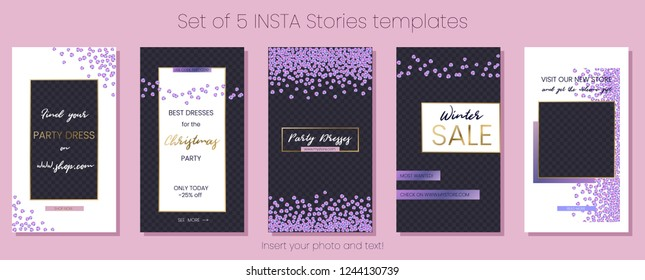 Editable Stories vector template pack. Social media frames with golden texture and sequins. Layout for business stories: fashion, interior design, photographer, blogger ets.