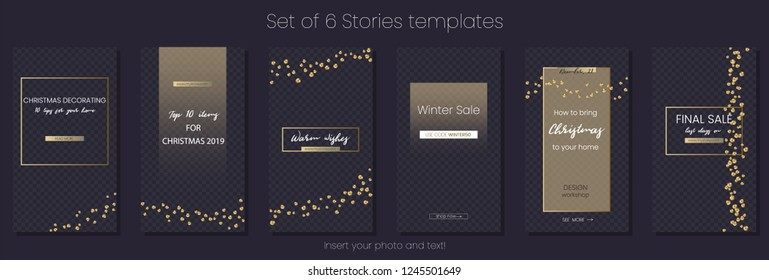 Editable Stories vector template pack. Social media frames with golden overlays, sequins. Mockup for business stories: fashion, interior design, photographer, blogger ets.