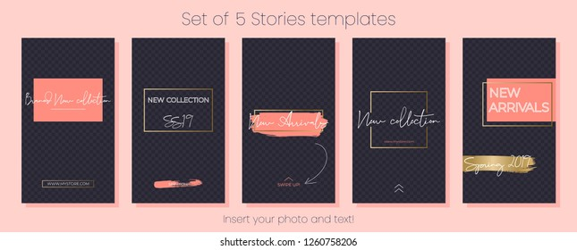 Editable Instagram Stories vector template pack. Spring 2019 living coral social media frames. Layout for business story: new arrival, new collection, sale, store announcement. For fashion, bea