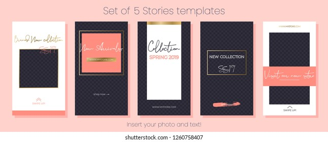 Editable Stories vector template pack. Living coral 2019 social media frames. Layout for business story: fashion, beauty, ets. New arrival, spring collection, sale, announcement, promotion