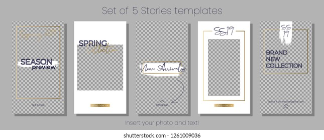 Editable Stories vector template pack. Spring 2019 social media frames. White and gold Layout for business story (fashion, beauty ets.): new arrival, new collection, sale, announcement.