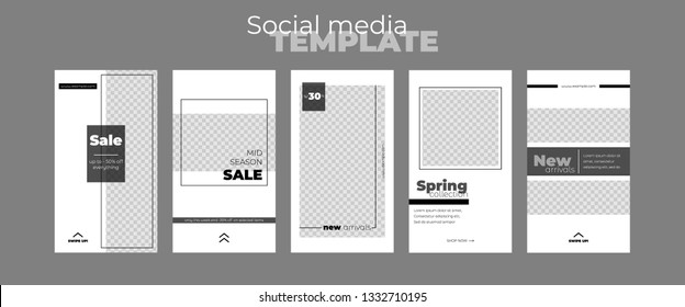 Editable stories vector templates pack for business accounts. Set of social media layouts minimalist design. Black and white Instagram story template: new arrival, new collection, sale.