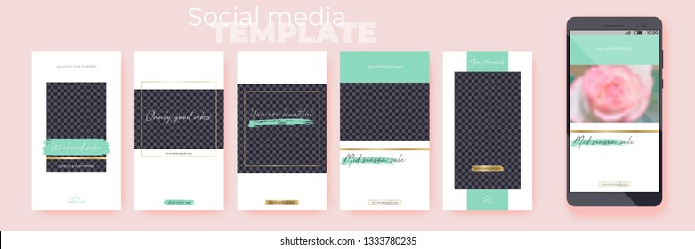 Editable Stories vector templates pack for corporate accounts. Set of social media layouts for business story (fashion, beauty, ets.): new arrival, new collection, sale.