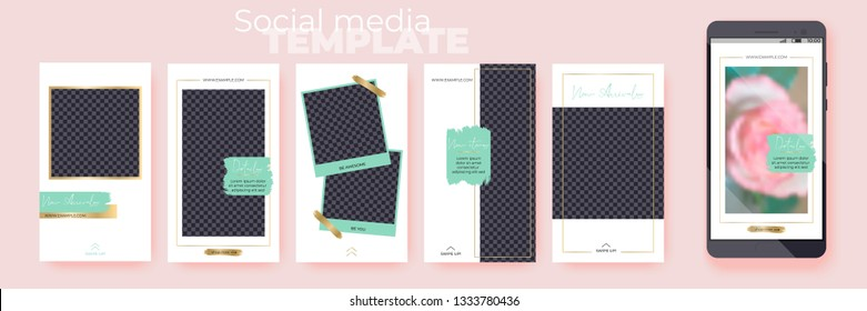 Editable Stories vector templates pack for corporate accounts. Spring Collection. Set of social media layouts. Layout for business story (fashion, beauty): new arrival, new collection, sale.