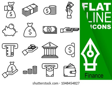 Editable stroke 70x70 pixel. Simple Set of finance vector sixteen flat line Icons with green banner - purse, banknote, coin, hand, treasury, payment, payment card, bank, slot machine, wallet, money