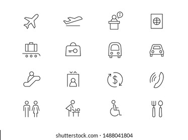 Editable stroke. Airport thin line vector icons