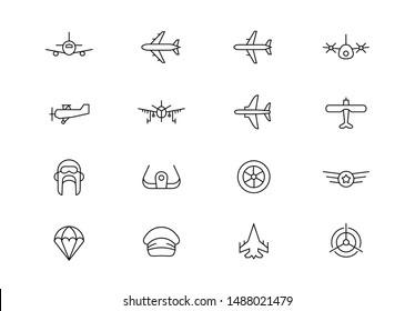 Editable stroke. Aviation thin line vector icons