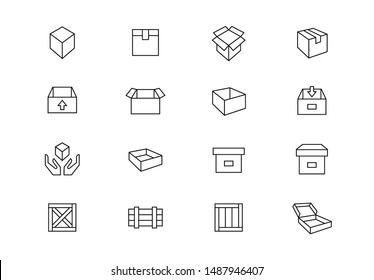 Editable stroke. Boxes, packaging thin line vector icons