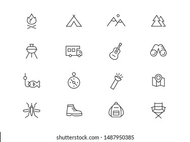 Editable stroke. Camping thin line vector icons