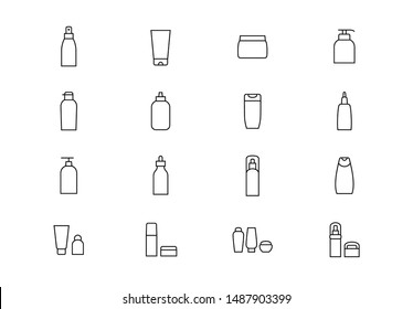 Editable stroke. Cosmetics package thin line vector icons