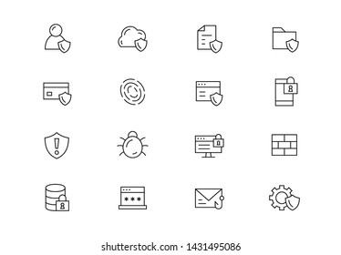 Editable stroke. Cyber security thin line vector icon set. Data protection, personal web safety, internet scams, biometrics, authentication