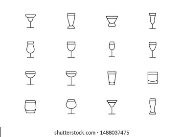 Editable stroke. Drinking glasses thin line vector icons