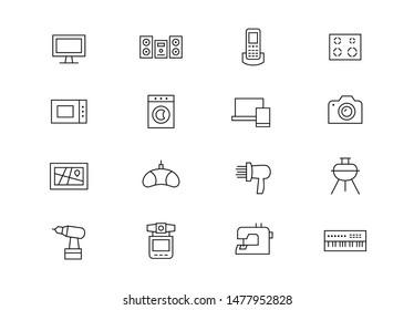 Editable stroke. Electronic appliances thin line vector icon set