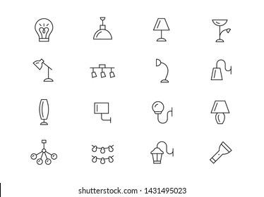 Editable stroke. Lighting thin line vector icon set. Different kinds of interior light equipment. Lamps, flashlights, lanterns