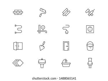 Editable stroke. Maintenance thin line vector icons