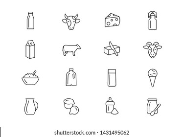 Editable stroke. Milk thin line vector icon set. Dairy goods production industry include milk, cheese, cream, yogurt, butter and farm animals