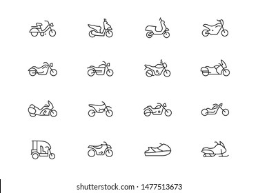 Editable stroke. Motorcycles thin line vector icon set