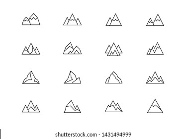 Editable stroke. Mountains thin line vector icon set. Rock shapes abstract emblems