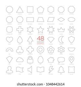 Editable stroke outline vector set basic geometric shapes. Kids thin figures school collection. Simple design symbols. Circle, triangle, square, pentagon, hexagon, heptagon, octagon, nonagon, decagon.