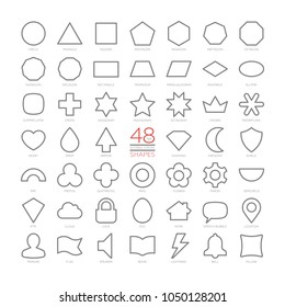 Editable stroke outline vector set basic education shapes. Thin geometric figures collection. Simple design symbols. Circle, triangle, square, arc, trefoil, quatrefoil, ring, flower, pinion, location.