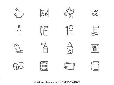 Editable stroke. Pharmacy thin line vector icon set. Drug shop supplies, pharmaceutical industry related pictograms