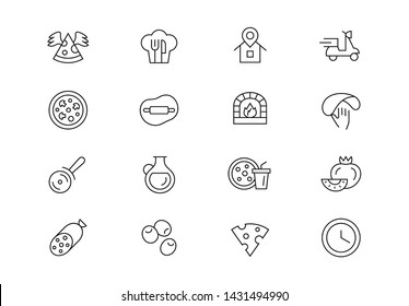 Editable stroke. Pizza thin line vector icon set. Pizza making, ordering and delivery service