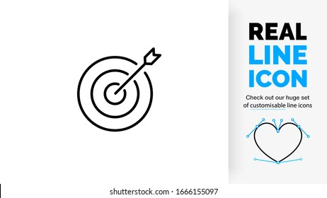 editable stroke real line icon of an arrow that hit the mark in the bullseye in a modern and clean design style on a white background