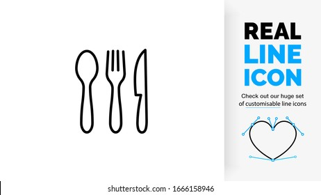 editable stroke real line icon of a spoon, knife and fork as a cutlery set in black modern and clean lines on a white background
