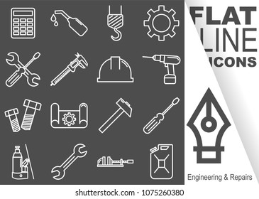 Editable stroke. Simple Set of Engineering and Repairs vector flat line Icons - calculator, oil, crane, sprocket, screwdriver, spanner, sliding gauge, helmet, drill, screw, drawing, hammer, vice