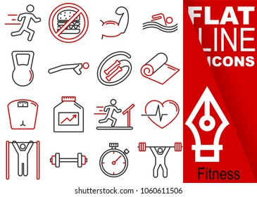 Editable stroke. Simple Set of fitness vector flat line Icons - run, muscles, swim, crank, rope, towel, weight, protein, cardio, stretches, glue, time, weight lifting