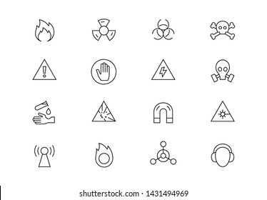 Editable stroke. Warning signs thin line vector icon set. Chemical, bio, explosives and other hazard symbols