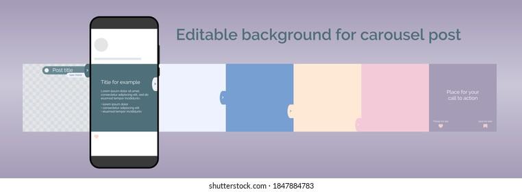 Editable template for carousel post in social network. Design background for social media. Vector illustration