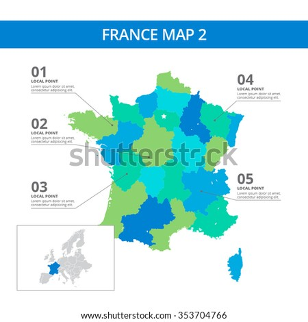 Country Map Of France.Editable Template Detailed Map France Information Stock Vector