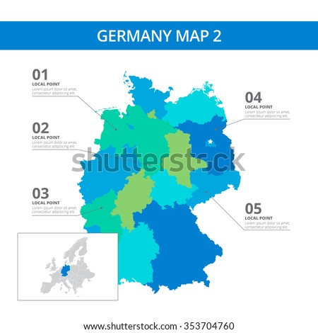 Editable Template Detailed Map Germany Information Stock ...