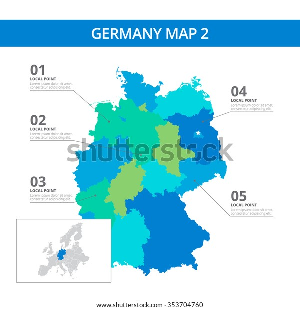 World Map Of Germany.Editable Template Detailed Map Germany Information Stock Vector