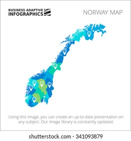 Editable template of detailed map of Norway with percent marks, isolated on white
