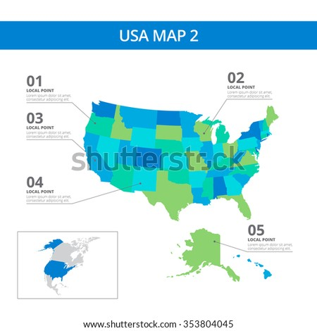 editable template detailed map usa information stock vector royalty